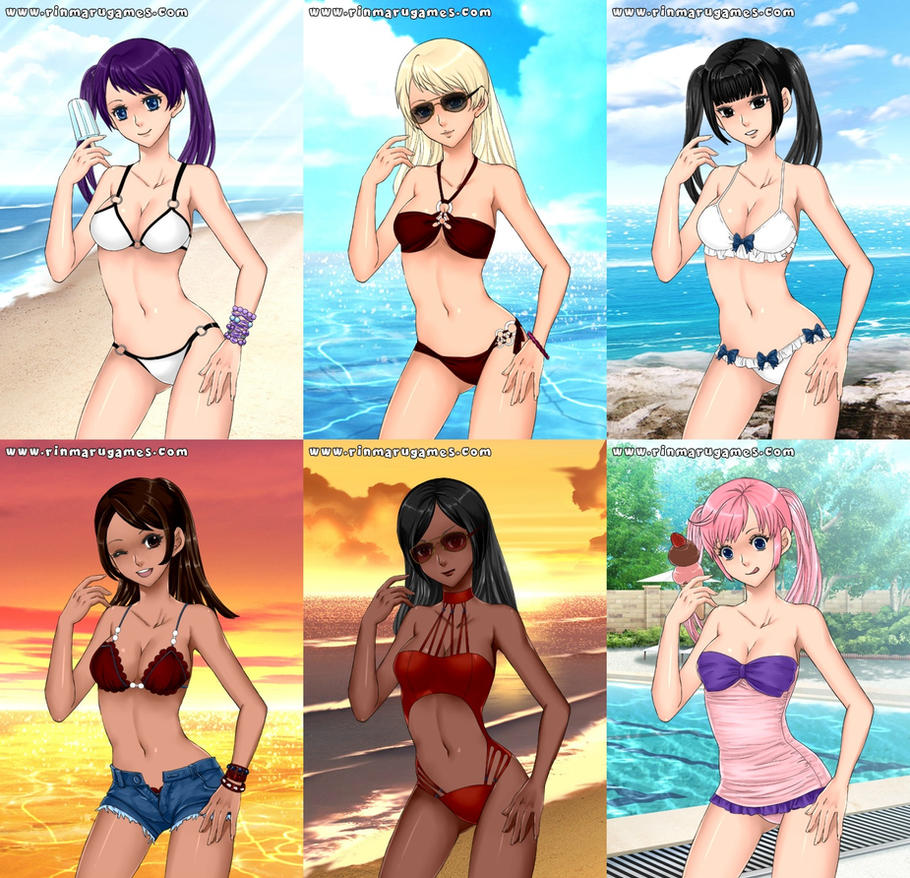 The Minami Sisters in Swimsuits by Minami-Kousaka