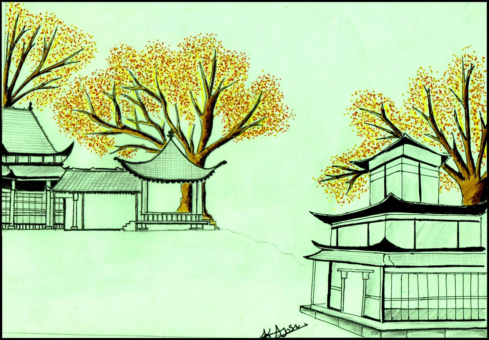 Coloured trees with chinese temple by kalpesh07kira coloured trees with chinese temple by kalpesh07kira