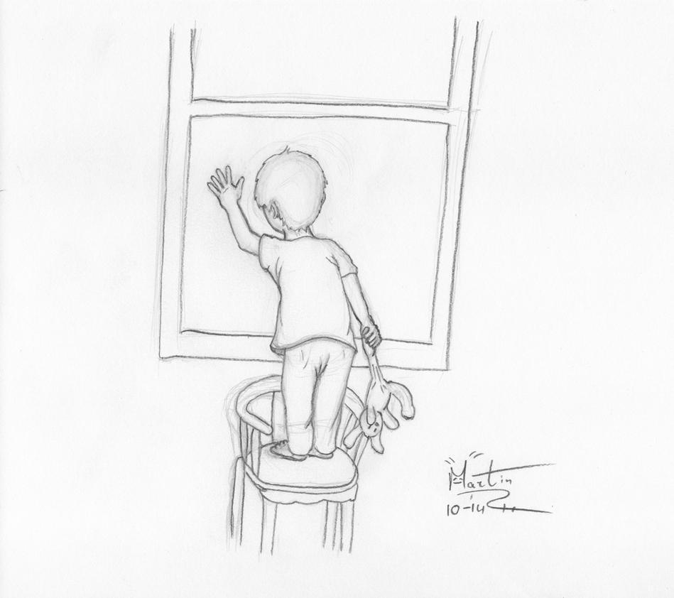how to draw a clown looking through window