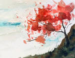 Blossom tree on a hill by dragon-fire