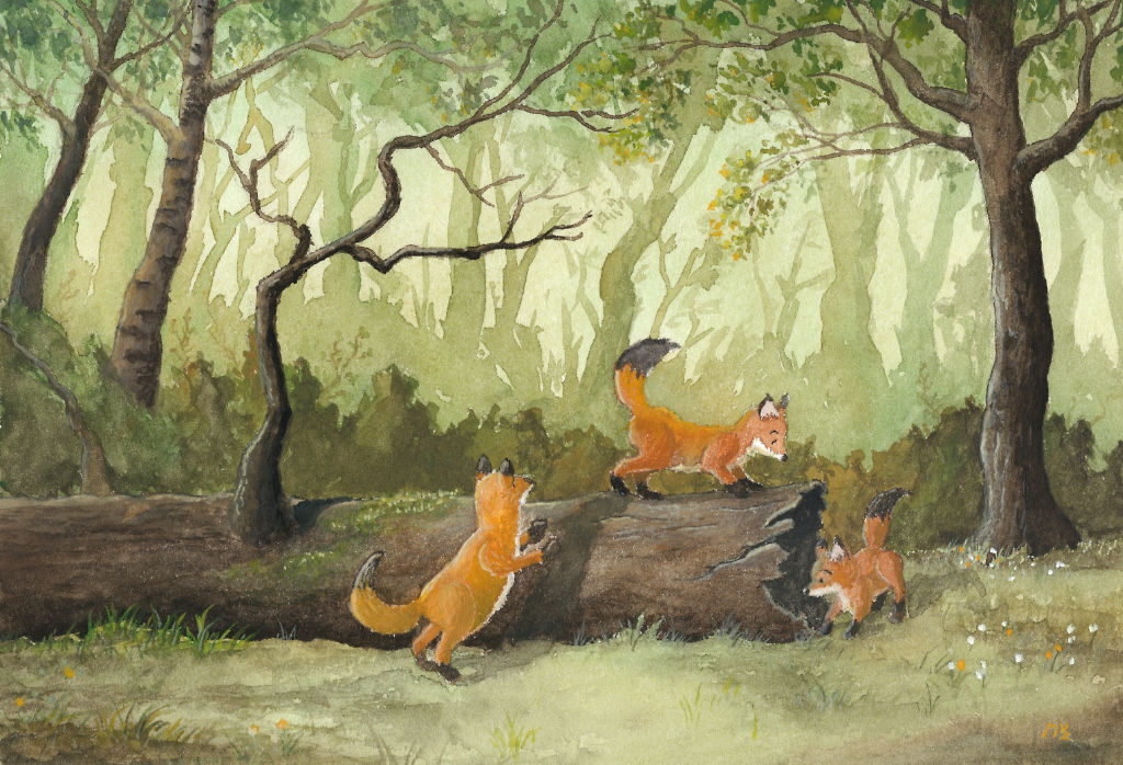 Foxes playing by dragon-fire