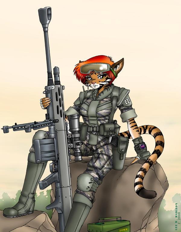 Tigergirl Sniper by Artraccoon