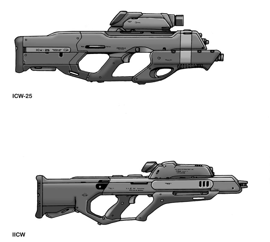 ICW-25 and IICW Laser Weapons by Artraccoon