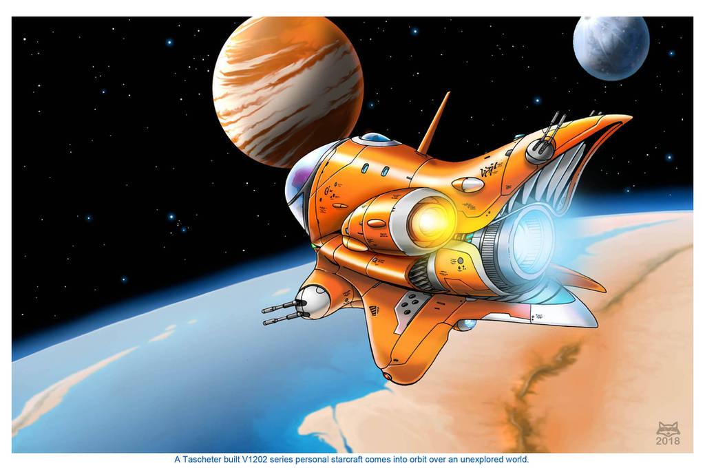 V1202 Personal Starcraft in orbit by Artraccoon