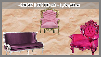 Baroque Chairs PNG Set by grafiglam