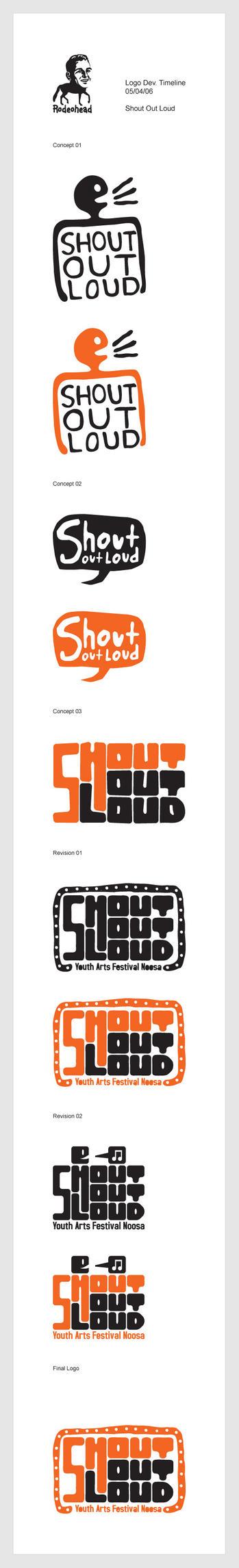 Shout Out Loud Logo Timeline by dugebag