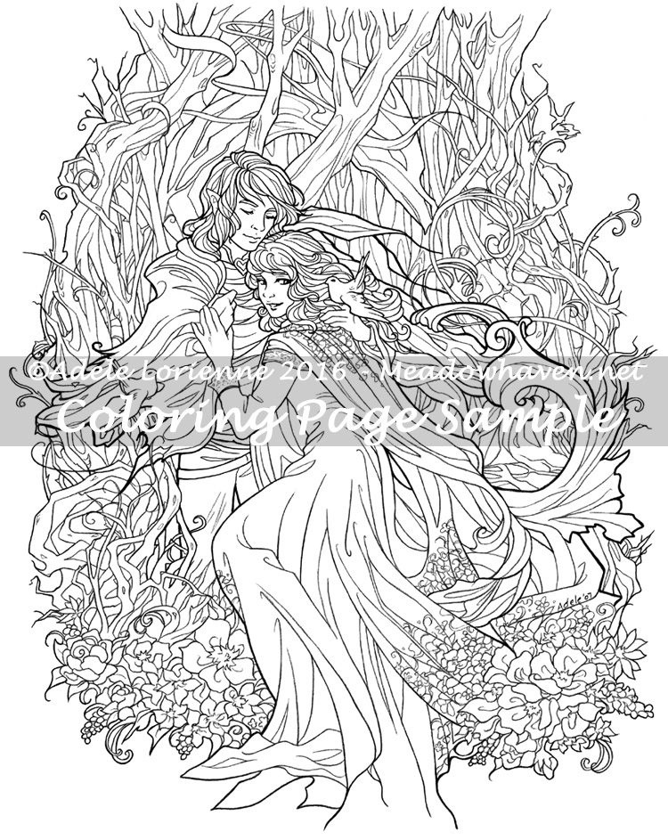 Art Of Meadowhaven Coloring Page Love Birds By Saimain