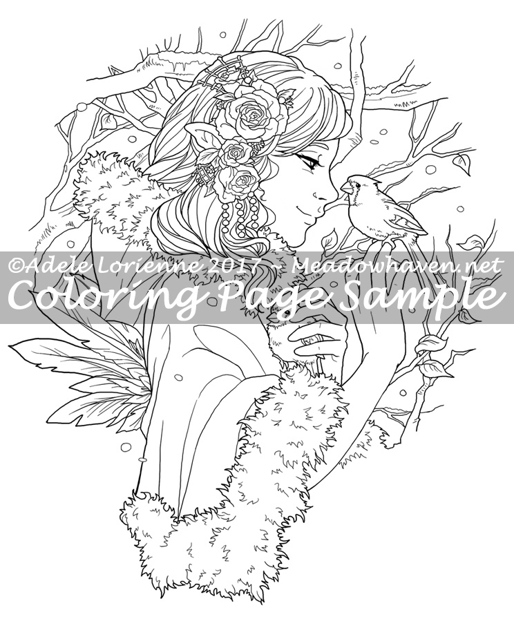 Art of Meadowhaven Coloring Page: Winter Rose