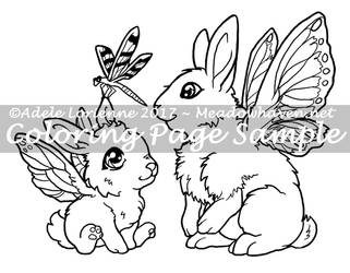 Art of Meadowhaven Coloring Page: Flutterbunnies