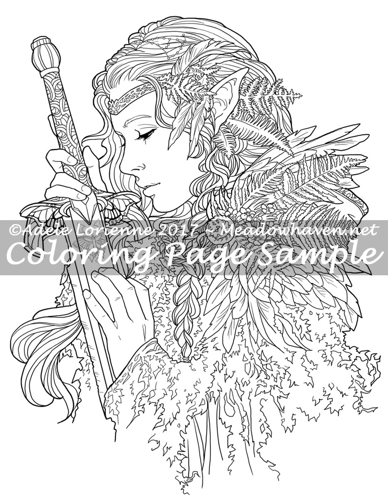 Art of Meadowhaven Coloring Page: Warrior