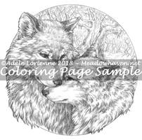Wolf Cuddle -Grayscale Coloring Page- by Saimain
