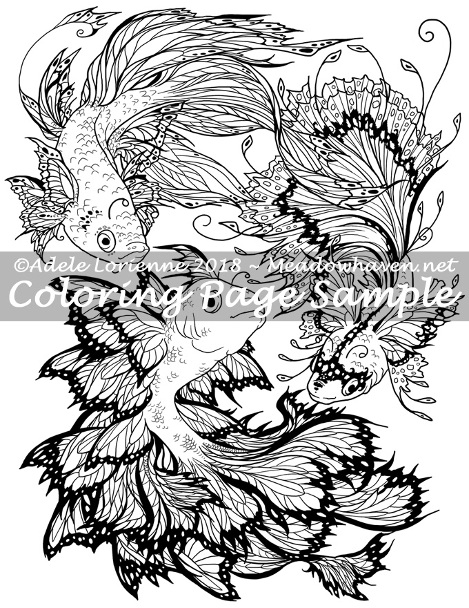 Art of Meadowhaven Coloring Page: Flutterfish