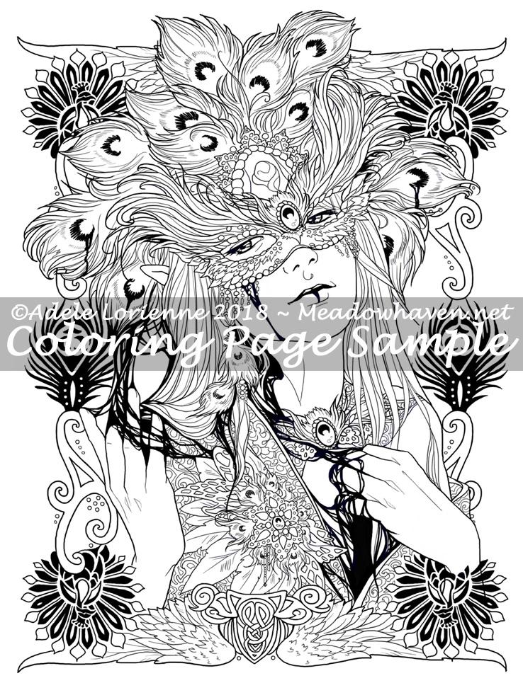 AMH Fantasy Coloring Page: Masquerade of Shadows