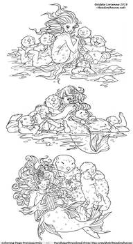 A Trio of Merbabies and Sea Otters: Coloring Pages