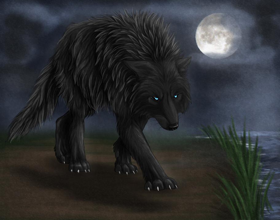black wolf green eyes-#31