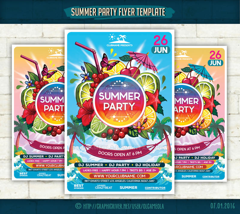 Summer Party Flyer Template by olgameola