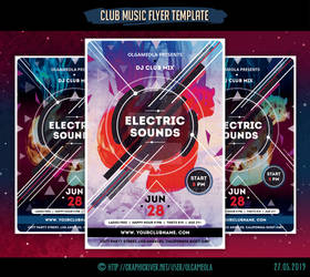Club Music Flyer Template Electric Sounds by olgameola