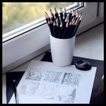 Graphite sketches of landscapes by olgameola