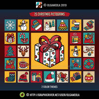 Christmas Icon Set (25 pictograms/icons) - Vol.1