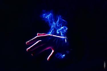 hands in smoke