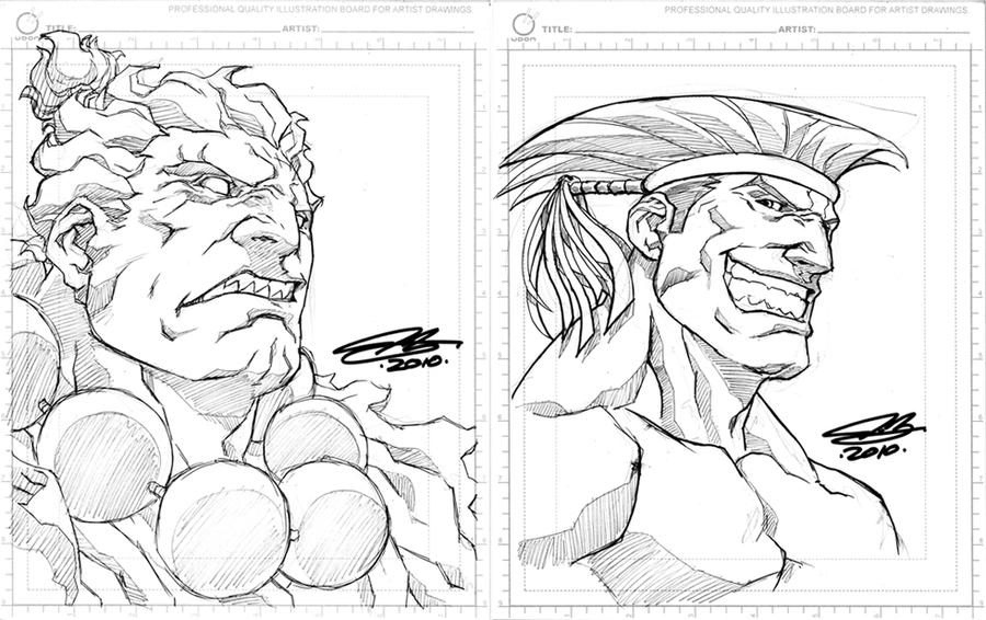 SDCC sketches AKUMA and ADON by NgBoy