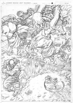 Street Fighter Origins: Akuma penciled page.