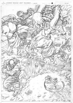 Street Fighter Origins: Akuma penciled page.