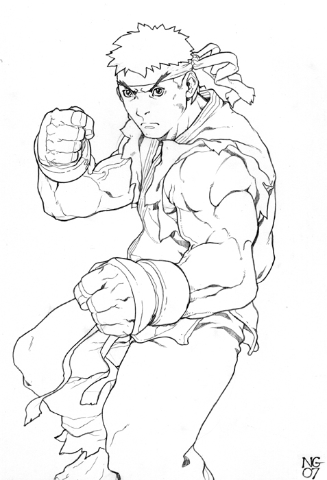 Ryu by ngboy on deviantart for Ryu coloring pages