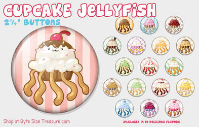 Cupcake Jellyfish Buttons