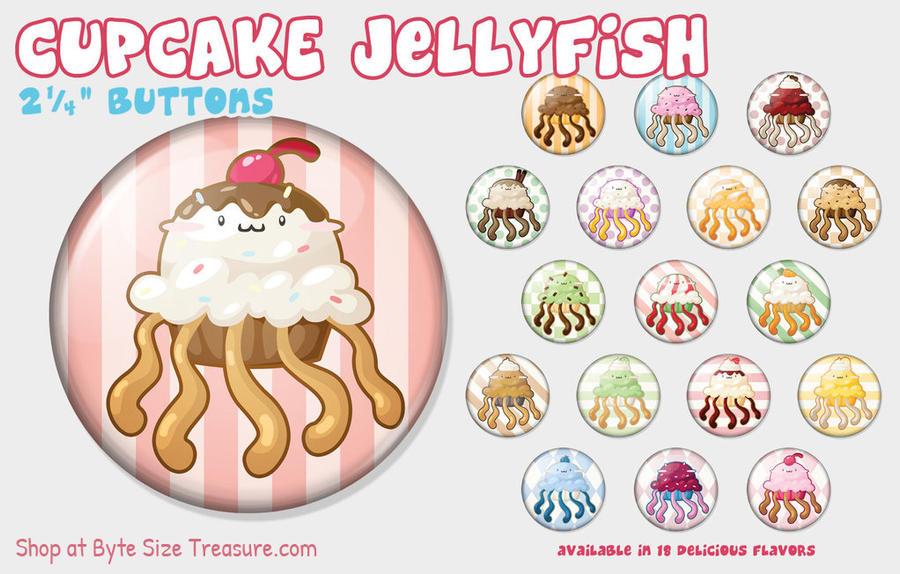 Cupcake Jellyfish Buttons by bytesizetreasure