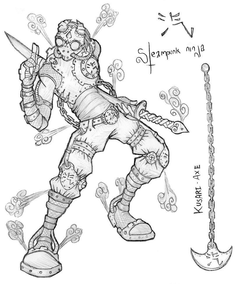 Steampunk ninja by El-Wolfgang