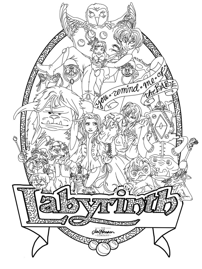 Labyrinth poster black and white by babewithepower on for Labyrinth coloring pages