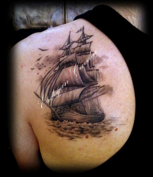 sailboat tattoo by ErdoganCavdar