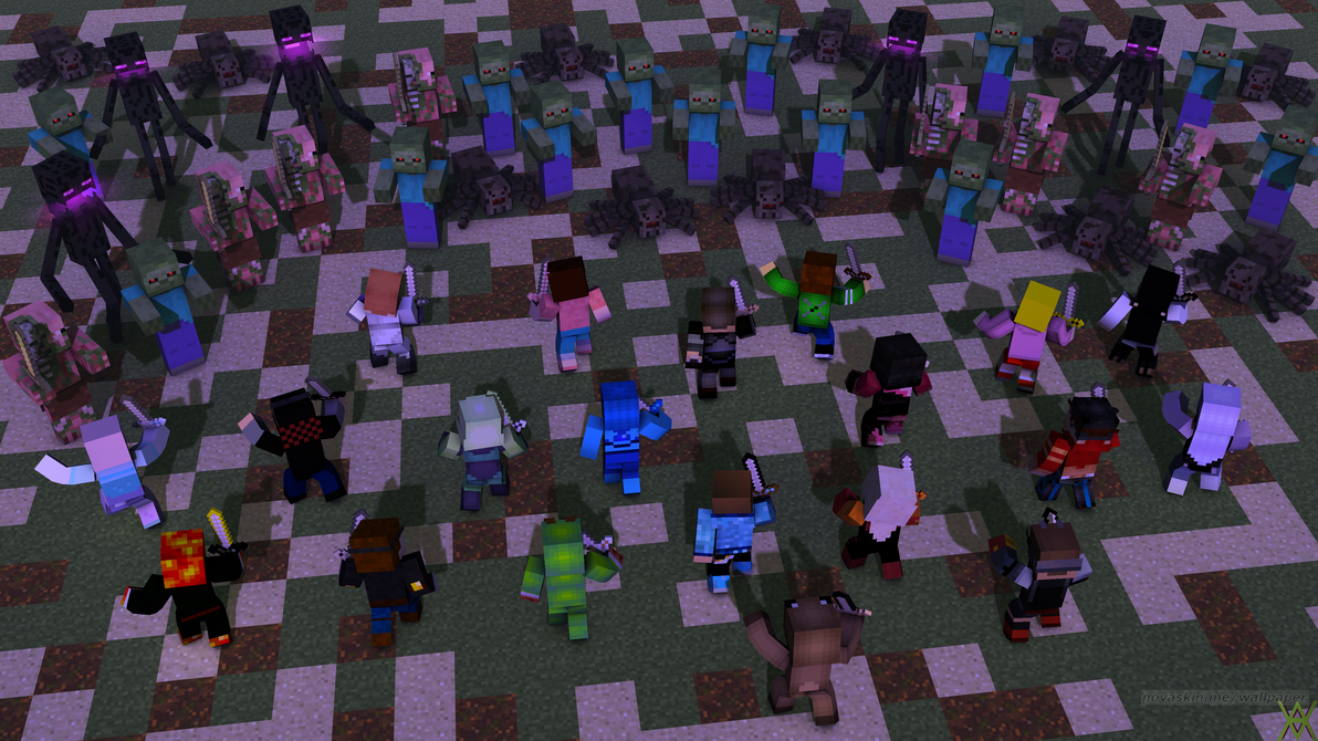 Minecraft Wallpaper: Mobs Warfare by AliceTheGamer