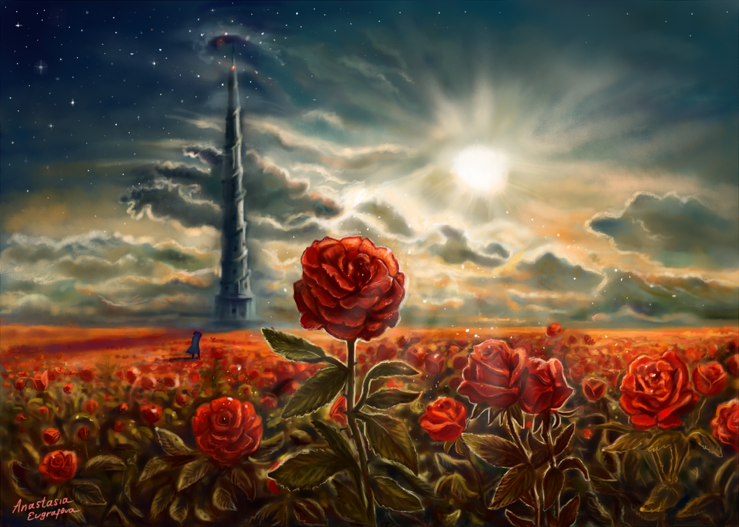 Dark Red Rose Painting