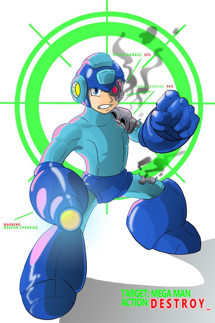 Battle Damaged Mega Man- Digital Redo by UluPoPoArt