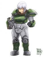 Vamp Erika Itsumi in T-51b Armor! by UluPoPoArt
