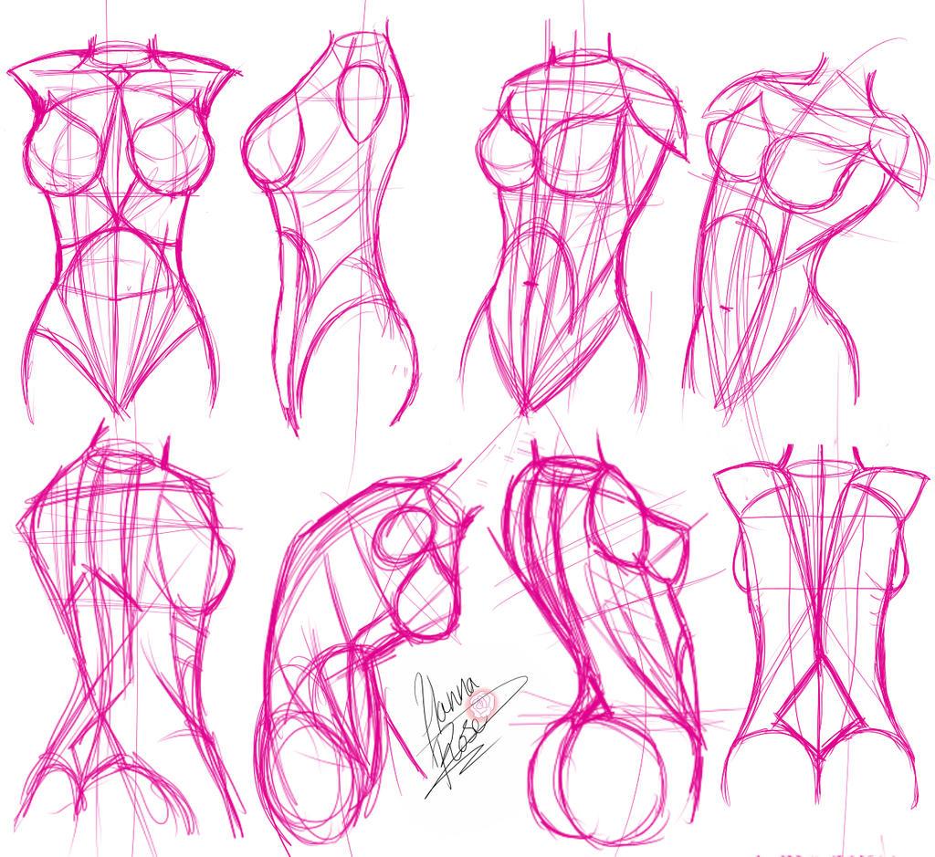Line Drawing Woman Body : Female bodies by mirerose on deviantart