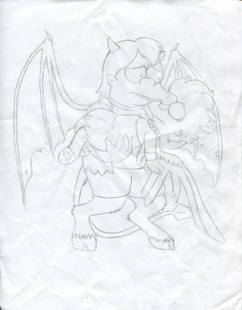 Broken Wings (Saved By My Demon) *sketch* by cyngawolf