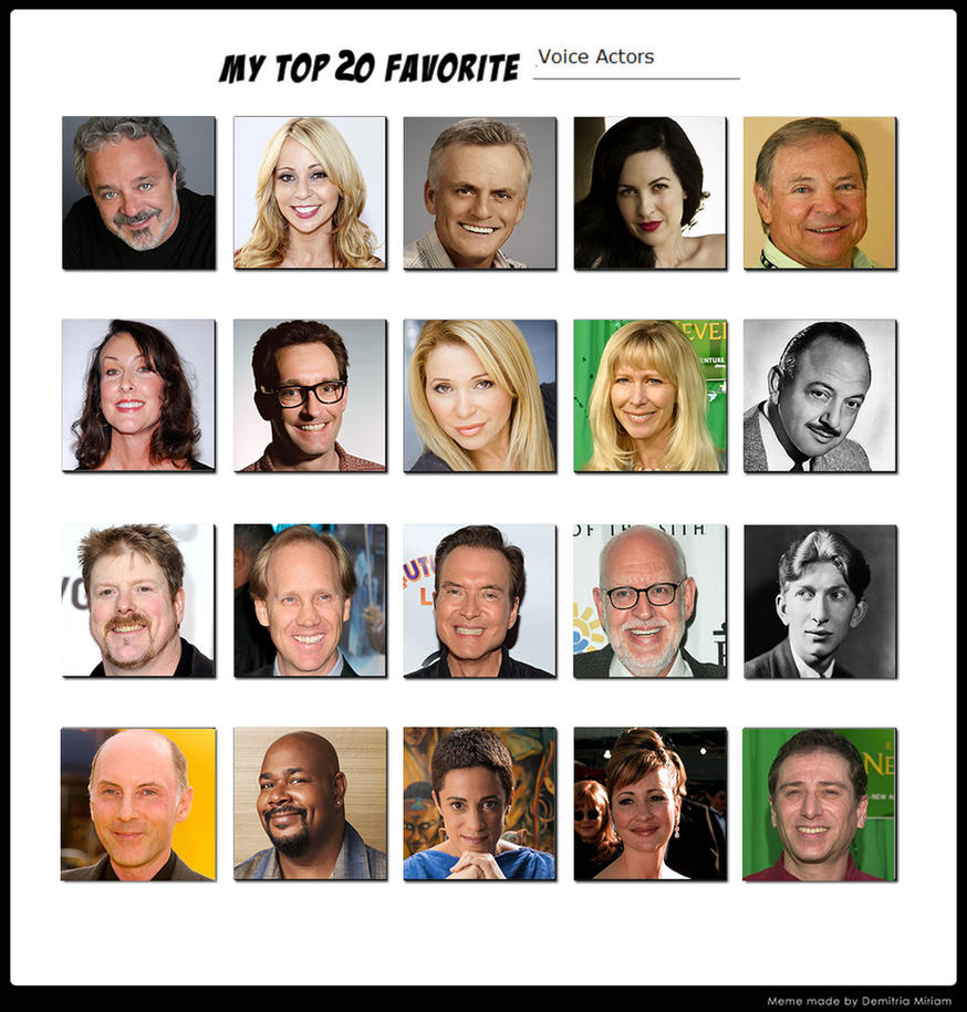 My Top 20 Favorite Voice Actors by Ezmanify