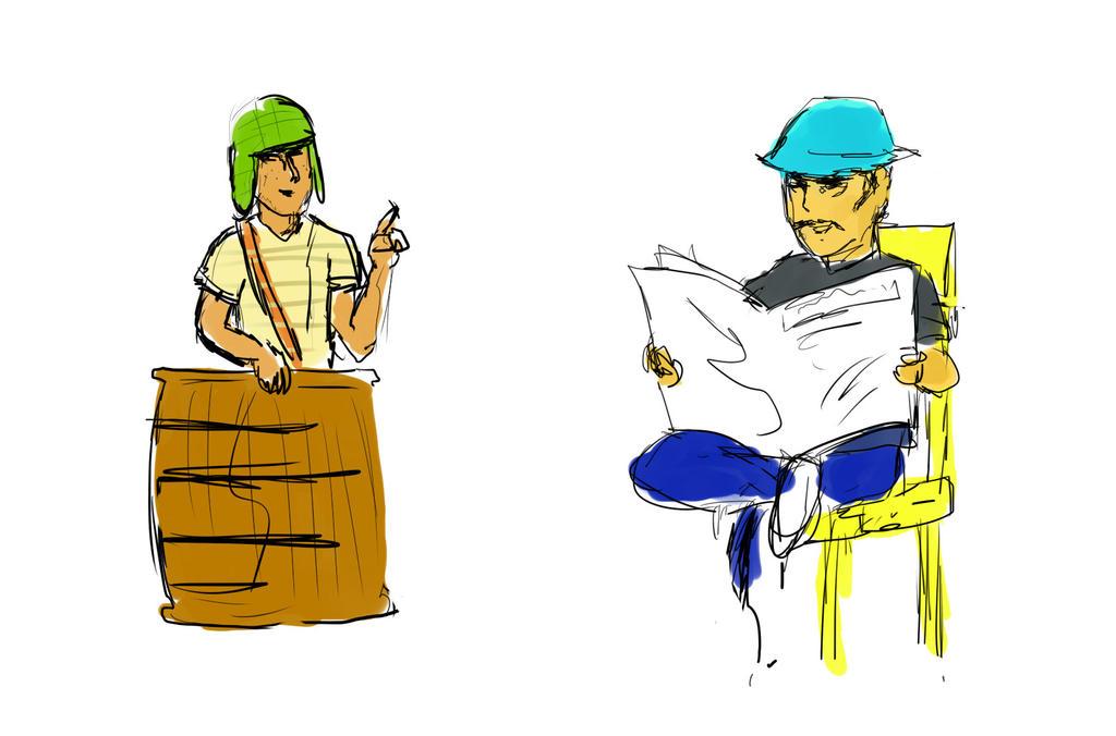 Chavo y Don Ramon by SandovART