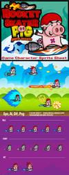 Side Scrolling Game Character: Rocket Skater Pig by rixlauren