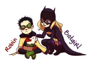 Batgirl, Robin and the Kitty by gabzillaz