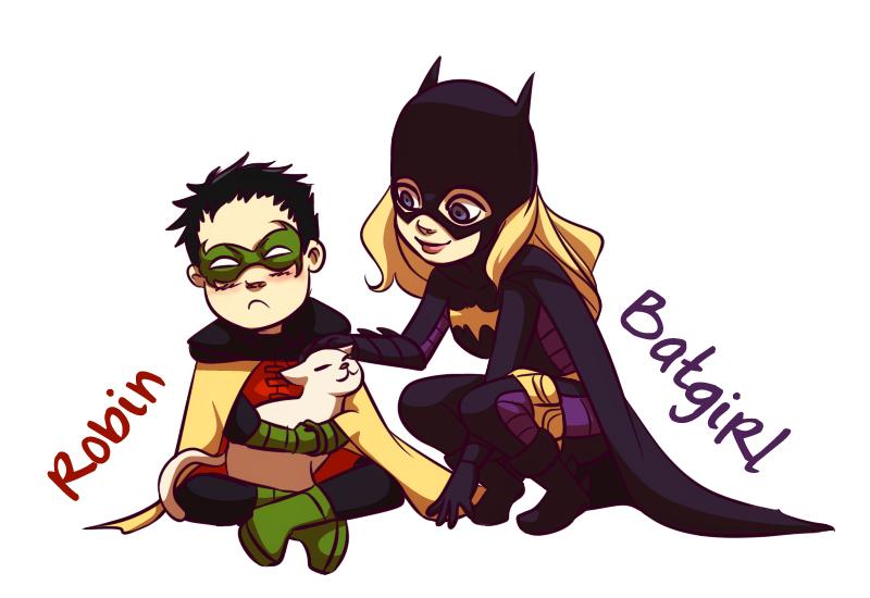 Batgirl, Robin and the Kitty by gabzillaz