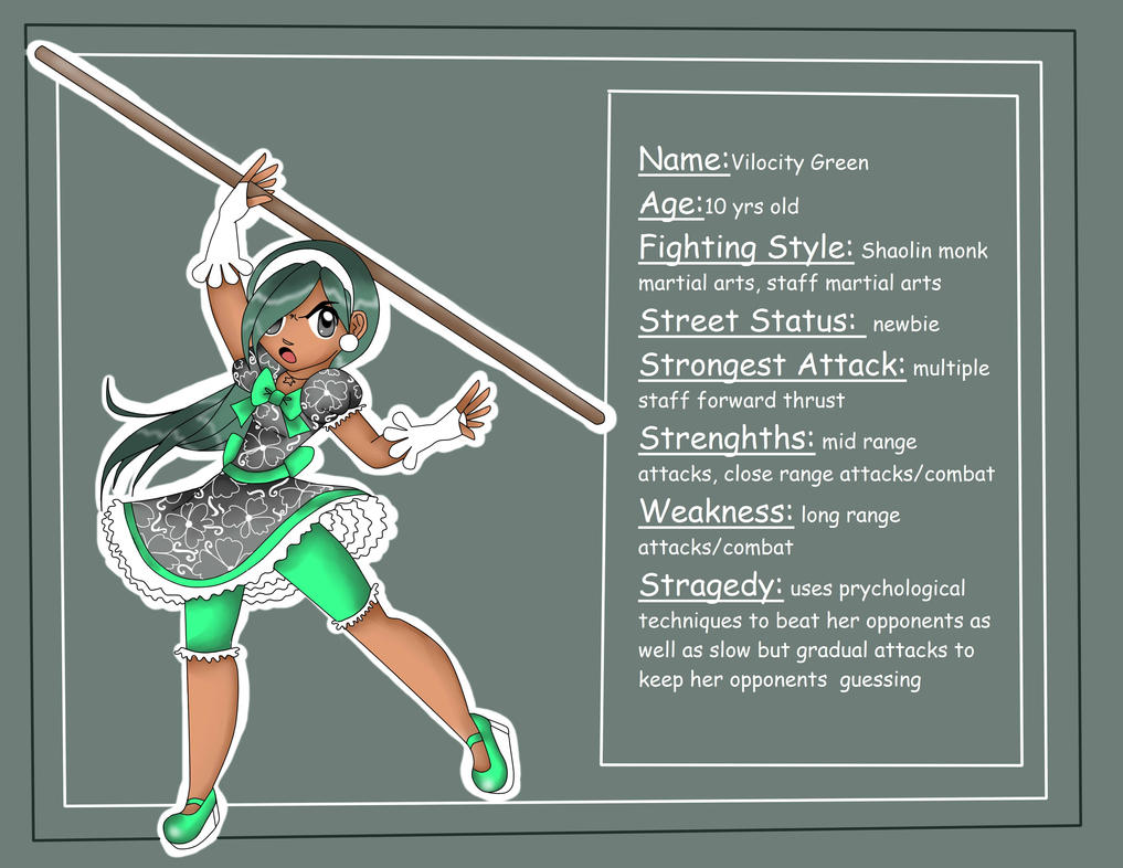 Pre-Teen Street Fighters: Vilocity Green by BrownieTheif
