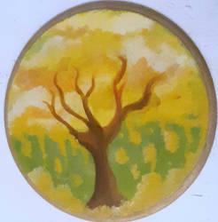 Wood Painting Golden Tree