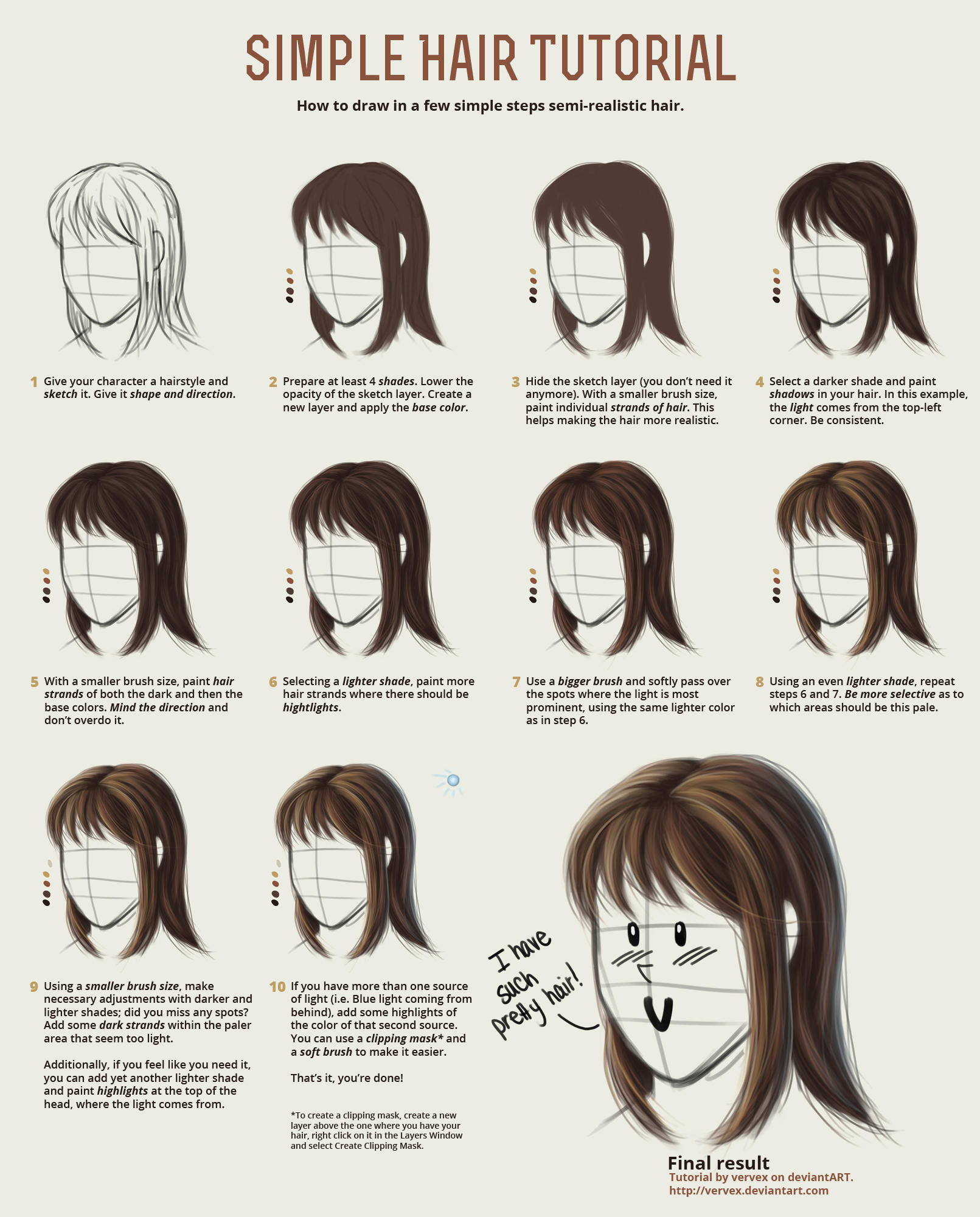 Simple Hair Tutorial by vervex