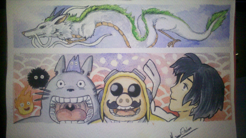 Ghibli watercolor by TOTOTEWEAMPON