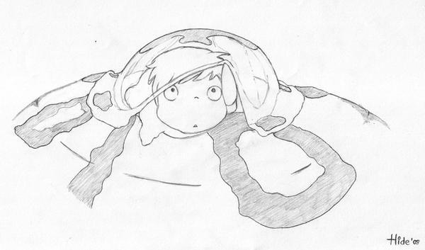 Ponyo en el acantilado by hidexshiva on deviantart for Ponyo coloring pages