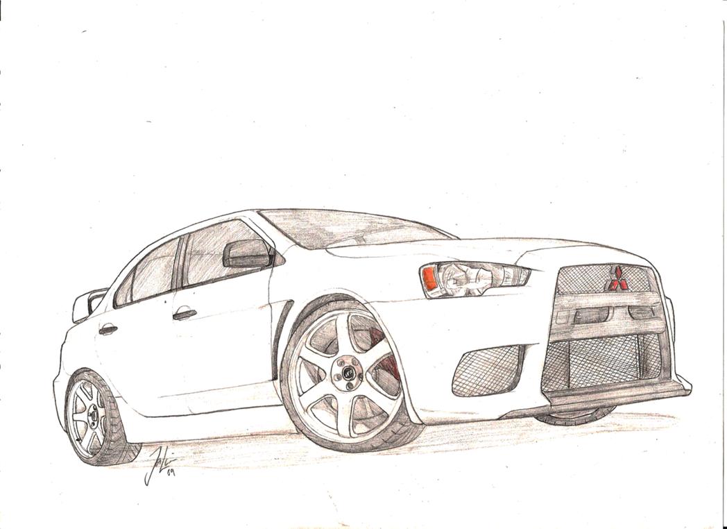 Mitsubishi Evo X Sketch By Jelaine92 On Deviantart